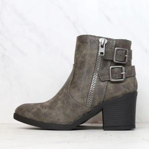 New Bamboo Grey Faux  Leather Ankle Booties